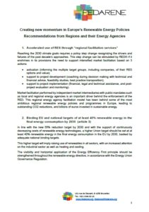 Creating new momentum in Europe's Renewable Energy Policies – Recommendations from Regions and their Energy Agencies