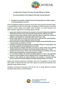 Creating Step Change in Europe's Energy Efficiency Policies – Recommendations from Regions and their Energy Agencies