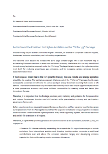 """Letter from the Coalition for Higher Ambition on the """"Fit for 55"""" Package"""