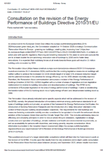 FEDARENE responds to the consultation on the Energy Performance of Buildings Directive