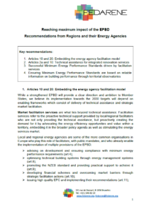 Reaching maximum impact of the EPBD – Recommendations from Regions and their Energy Agencies